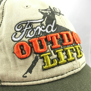 Ford Outdoor Life Baseball Cap Hat Raised Letters Green Beige Snapback