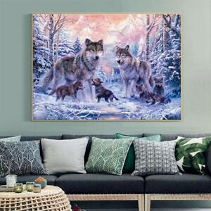 Wolfs Cross Stitch Embroidery Kit 14CT Snow Wolf Painting DIY Thread Crafts $22.67