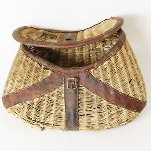 Vintage Antique All Original Wicker Leather Fishing Creel - Wall Hange