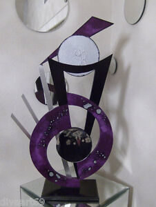 Purple Abstract Sculpture Wood Metal amp; Mirror Contemporary Sculpture 40x19 $425.00