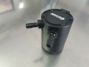 Black Universal Compact Baffled 2-Port Oil Catch Can Tank Air-Oil Separator
