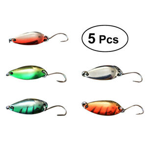 5Pcs Metal Spinner Fishing Lures Hook Tackle Pack for Largemouth Walleye Bass