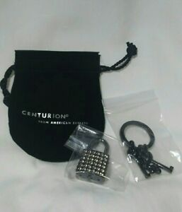 AMERICAN EXPRESS AMEX Centurion Black Card Padlock Crystal Key Ring Key Chain