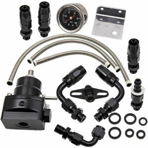 Universal Adjustable Fuel Pressure Regulator Kit 100psi Guage AN6 Fitting Black