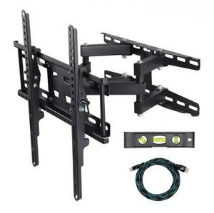TV Wall Mount Bracket With Full Motion Articulating Dual Arm pure black