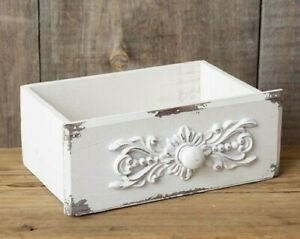 New Shabby White French Chic Chippy Drawer Box Vintage Style Wood Cottage