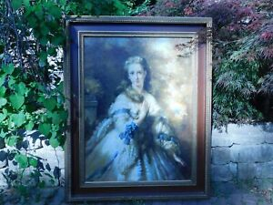 Oil on Canvas Hartman Portrait Young Lady Victorian Style Framed