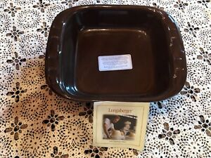 NEW Longaberger Pottery 8 X 8 Baking dish Chocolate brown without the box