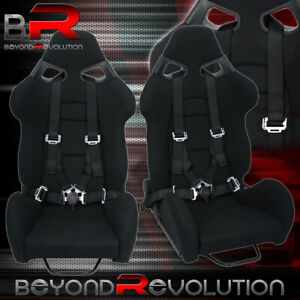 2X Universal Black Racing Cuga Style Bucket Seats + 4Pt Camlock Black Seatbelt
