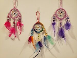 Pink Purple Rainbow Multi-Color Beaded Dream Catcher Feather Wall Decoration 11
