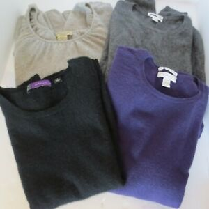Lot of 4 Cashmere Sweater Craft Cutter Upcycle Gray Black Charcoal Purple