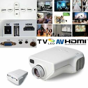 Mini LED HD Projector Portable Home Cinema Theater HDMI AV VGA USB SD TV White
