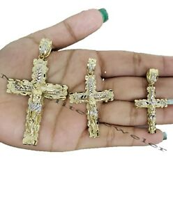 10k Yellow Gold Pendant Jesus Crucifix Cross Charm 2.5 -1.5 Inch Men Women REAL