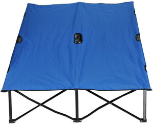 2 Person Camping Cot Double Wide Folding Bed Elevated Steel 300 Lb Capacity Blue