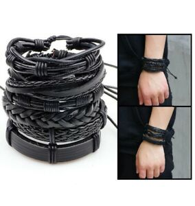 6Pcs Men Women Black Braided Leather Bracelet Bangle Wrap Rope Wristband Set