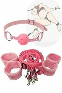 Lover Role Play Pink Under the Bed System Strap with Handcuffs Mouth Ball Gag $15.99