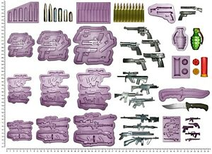 GUNS, BULLETS, KNIFE & GRENADE Craft Cake Decorating Sculpey Silicone Mould Mold
