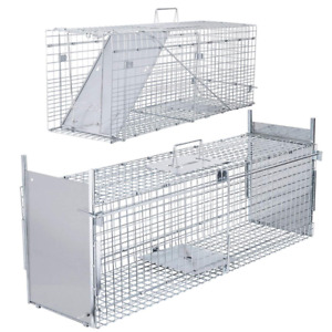 VIVOHOME Large Humane Animal Trap Steel Cage - Live Rodent Control Rat Squirrel