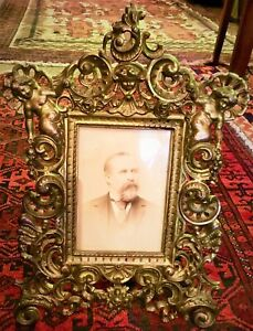 Antique Very Ornate Victorian Brass Picture Frame, Great luster and Patina