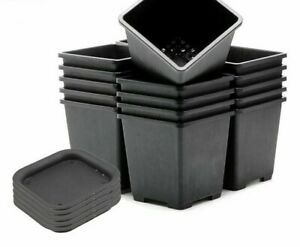 Plastic Square Flower Pot Small Succulent Nursery Vase With Tray Home Decoration $18.45