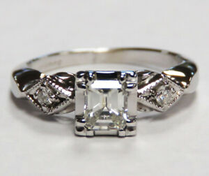 Ladies Vintage 14KT White Gold Emerald-Cut VS2 Diamond Engagement Ring
