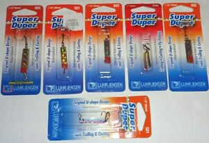 Six Luhr Jensen Super Duper fishing lures .