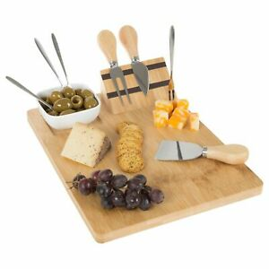 Wooden Cheese Cutting Board Serving Ceramic Dish Utensils 9 x 12.25 Party Tray
