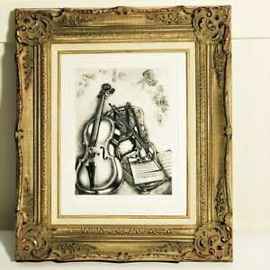 Framed Signed amp; Numbered Artwork Print quot;Violin and Music Scorequot; 21quot; x 18quot; $75.00