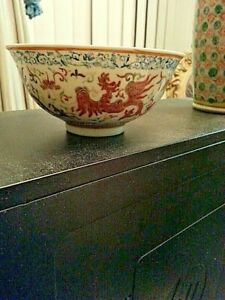 VERY FINE enameled chinese antique PORCELAIN BOWL MARKED $375.00