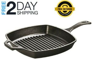 CAST IRON GRILL PAN Lodge Pre Seasoned Steak Bacon Grilling Square Skillet 10.5