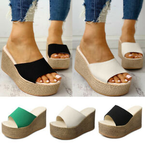 WOMENS WEDGE SANDALS HIGH HEELS PLATFORM ESPADRILLE SLIPPERS SUMMER PARTY SHOES