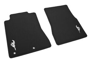 2005-2012 Ford Mustang OEM 2pc Front Floor Mats Charcoal w/ Silver Running Horse