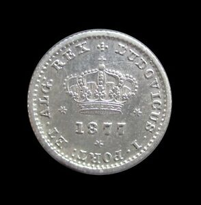 PORTUGAL 50 REIS 1877 SILVER RULER LUIS I KM 506.2 #4747# $15.09