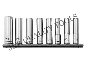 9pc 1 4quot; INCH DRIVE DEEP SOCKET SET SAE WITH SOCKET HOLDER