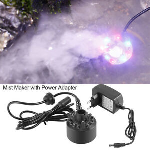 12LED Colorful Mist Maker for Water Fountain Pond with Power Adapter 110-240V