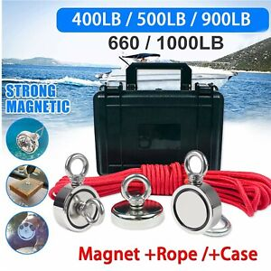 Fishing Magnet Kit Strong Neodymium Round Thick Eyebolt amp; Rope Treasure Hunt USA $19.98