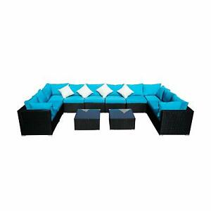 5/7/12pc Outdoor Patio Wicker Rattan Sofa Set Sectional Couch Cushioned Red/Blue
