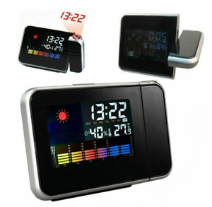 LED Digital Projection Alarm Clock Weather Thermometer Calendar Backlight snooze