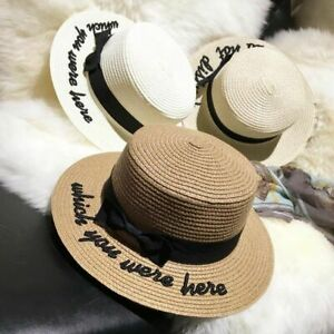 Lady Embroidery Sun Caps Boater Hat Women Bow Summer Ribbon Round Bow Flat Top