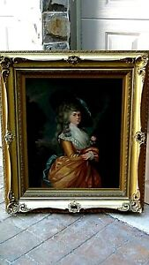 ANTIQUE 18c ENGLAND OIL ON CANVAS PAINTING OF VICTORIAN LADY ORNATE GILT FRAME