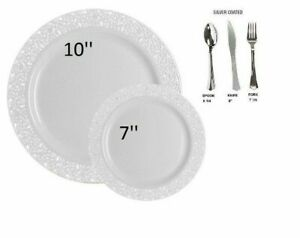 White lace plastic disposable wedding party dinner plates w spoon forks knives