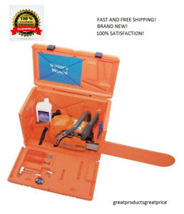 Husqvarna Stackable Orange Chainsaw Storage Carrying Case MADE IN USA $52.99