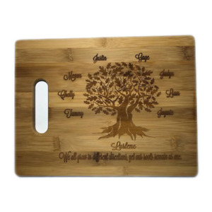 FAMILY TREE Bamboo Cutting Board Gift Personalized Engraved Wood CUSTOM Gift