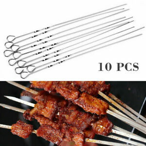 10Pcs BBQ Barbecue Stainless Steel Grilling Kabob Flat Needle Skewers Stick K5C8