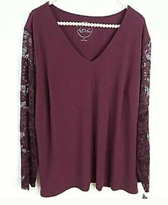 INC Top Size 3X Maroon Stretch Lace Sleeves