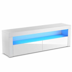 High Gloss TV Stand Unit Cabinet Console Furniture w LED Shelves and Drawers