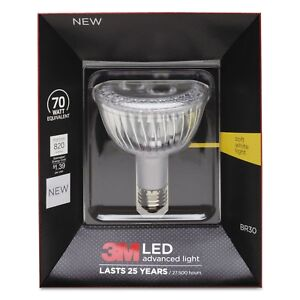 3M LED Advanced Light BR30 Bulb, Soft White 3000K, Dimmable, 11.5 Watts - NEW