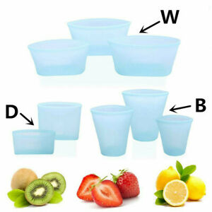 Reusable Silicone Food Fruit Storage Bags Leak Proof Container Zipper Bag US