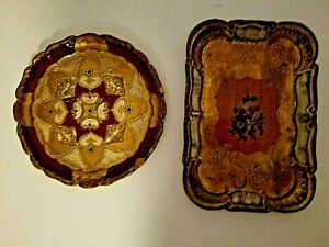 Vintage Gold Gilt Trays ARAH Hand Made in Florence Italy by Legno Wood 2 Pcs. $24.99