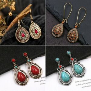 Vintage Turquoise Beads Ethnic Boho Tassel Earrings Hook Women Ear Dangle Summer